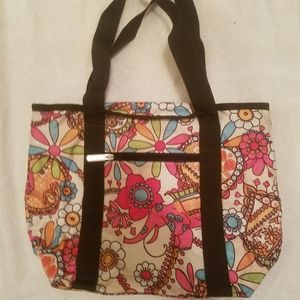 Tan tote bag with colorful floral/elephant print